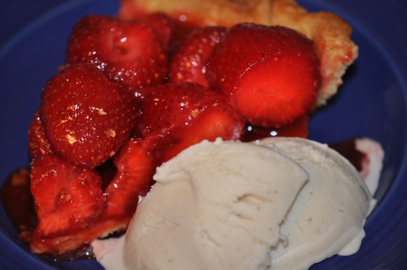 Strawberry love pie piece